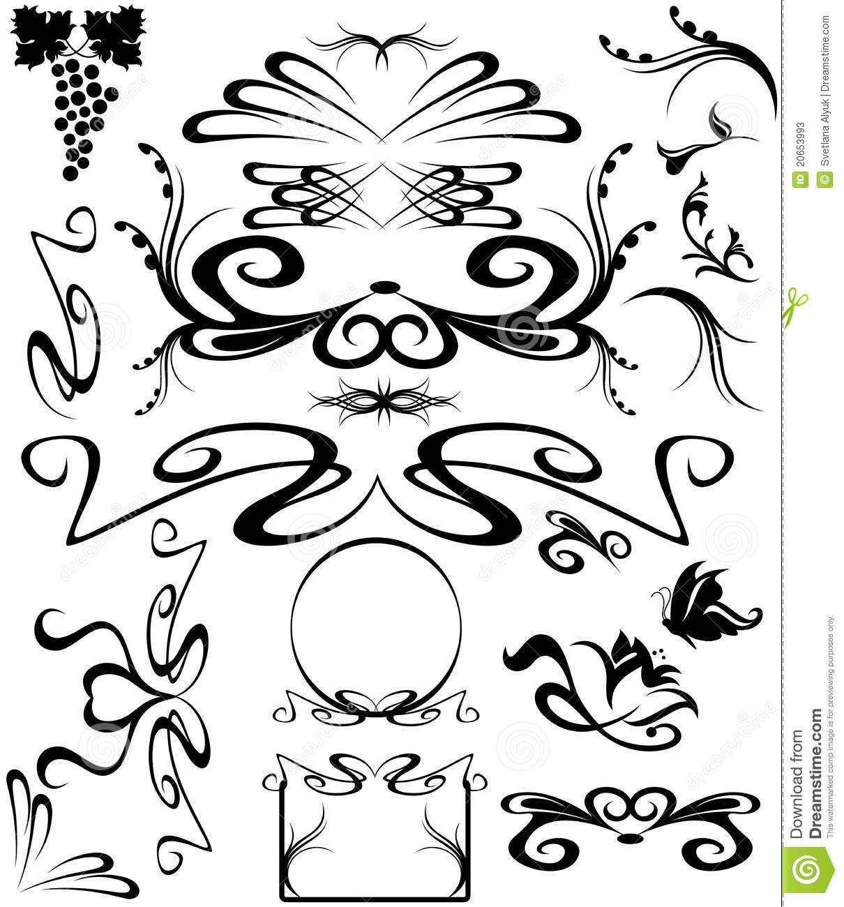 Art nouveau vector stock vector illustration of isolated for Art nouveau shapes