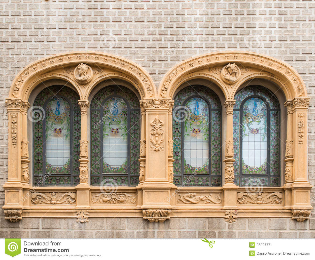 Art nouveau windows stock image image of catalonia for Art nouveau fenetre