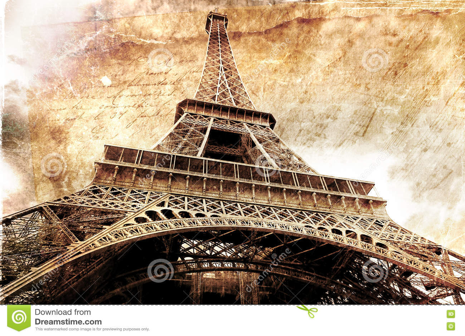 Art numérique abstrait de Tour Eiffel à Paris Vieux papier Carte postale, haute résolution, imprimable sur la toile