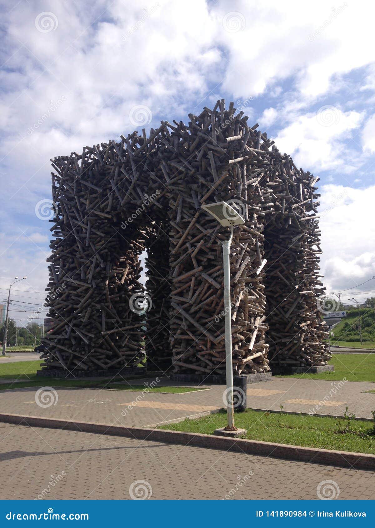 Art object `Perm gate` in Perm, Russia