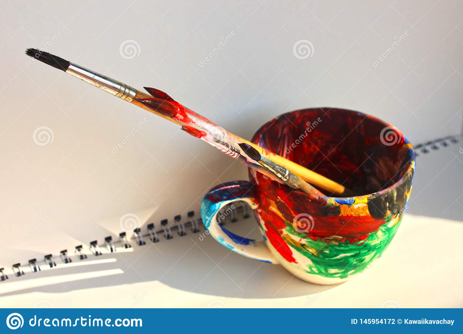 Art Paint Brushes In A Cup With Empty Space For Text Stock Photo Image Of Acrylic Creative 145954172