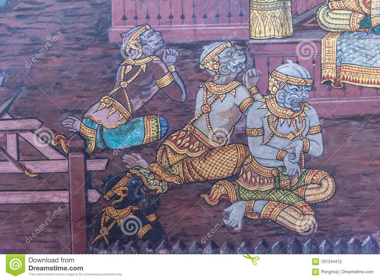 Art Painting On The Wall About Ramayana Story Editorial