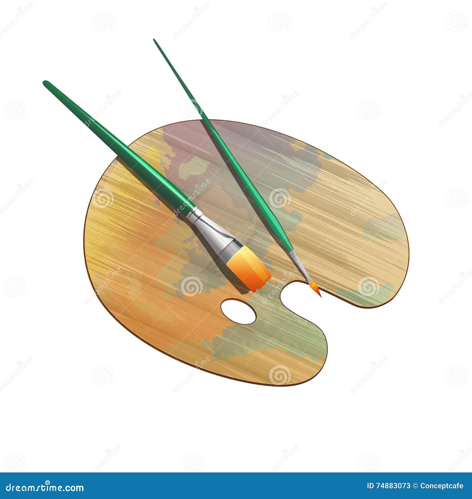 Art Palette And Brushes Ilustração do vetor