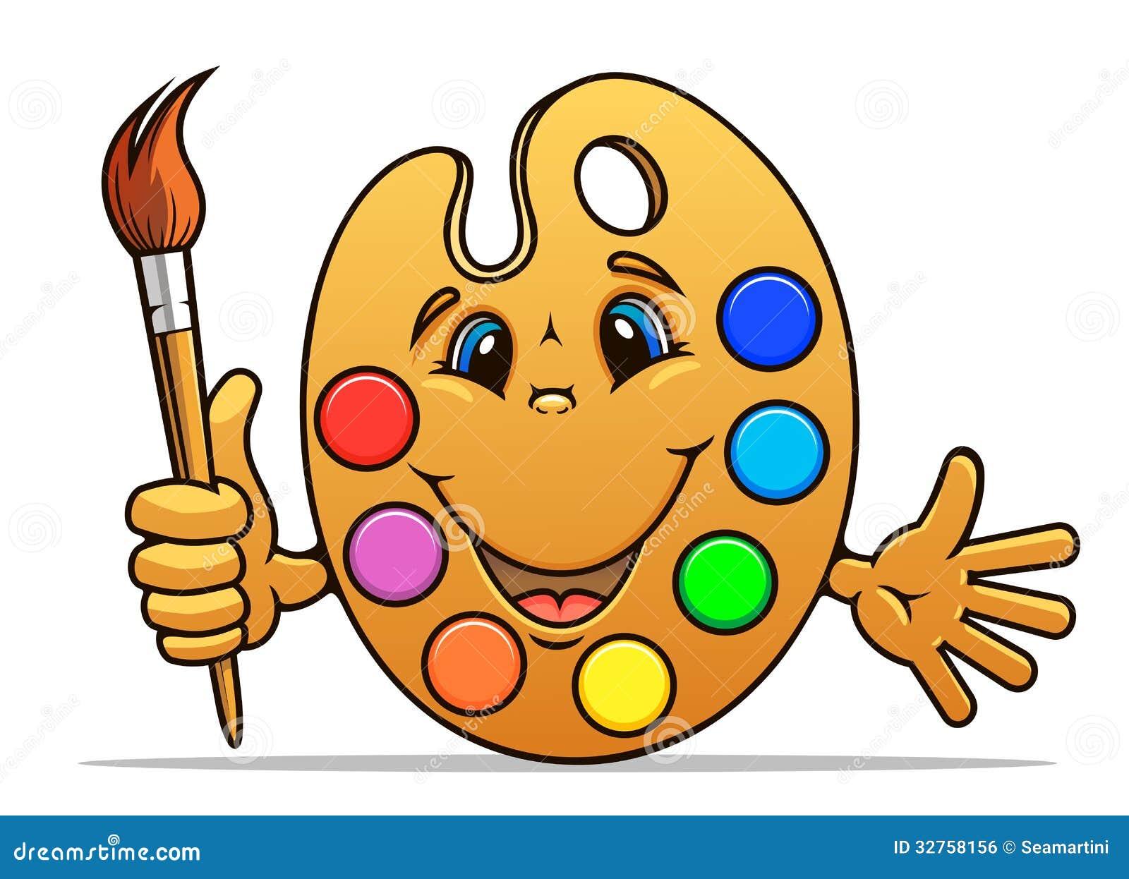 Cartoon Art Pallet Art palette with paints and