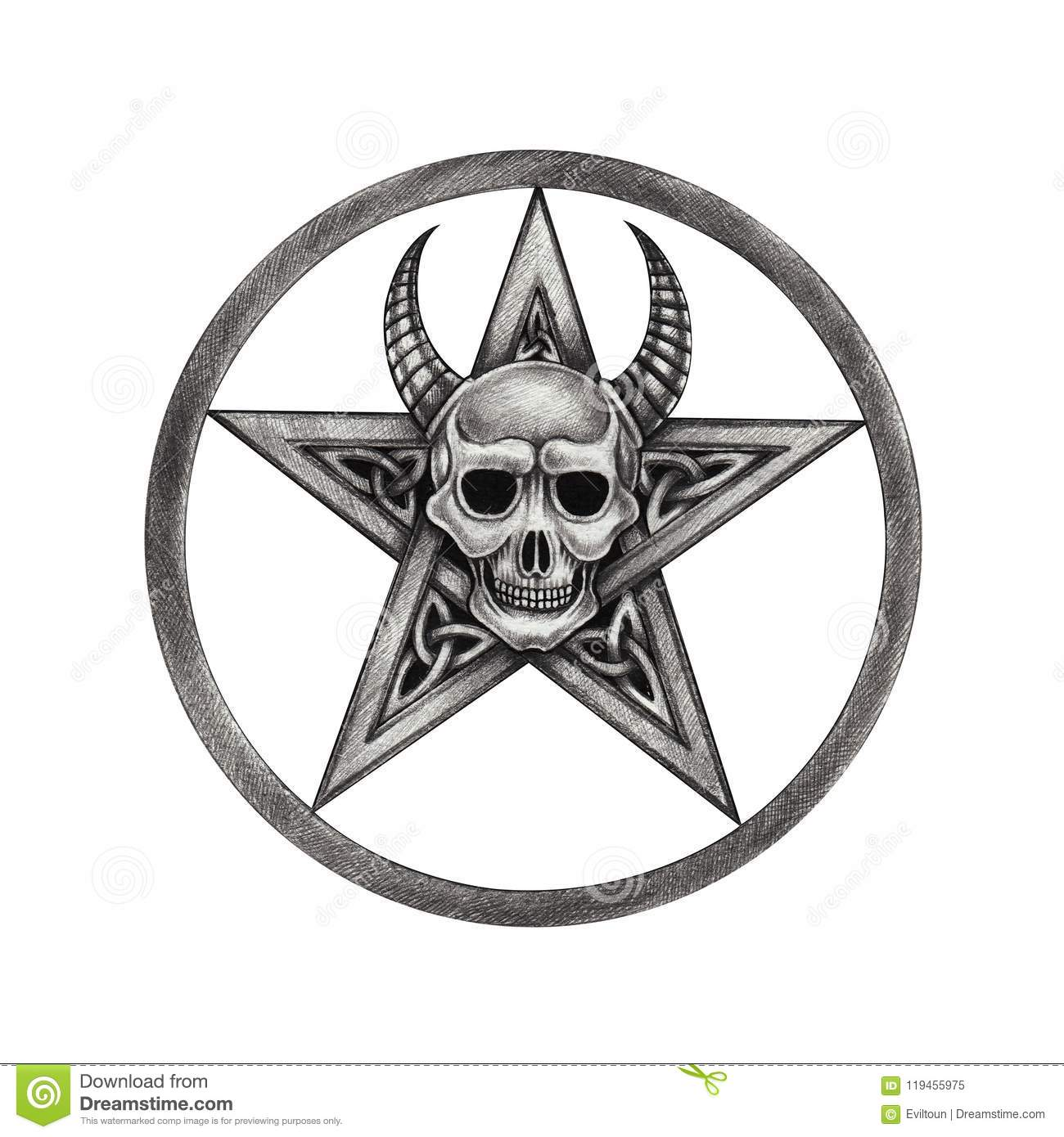 Art Pentagram Mix Devil Skull Tattoo Stock Illustration