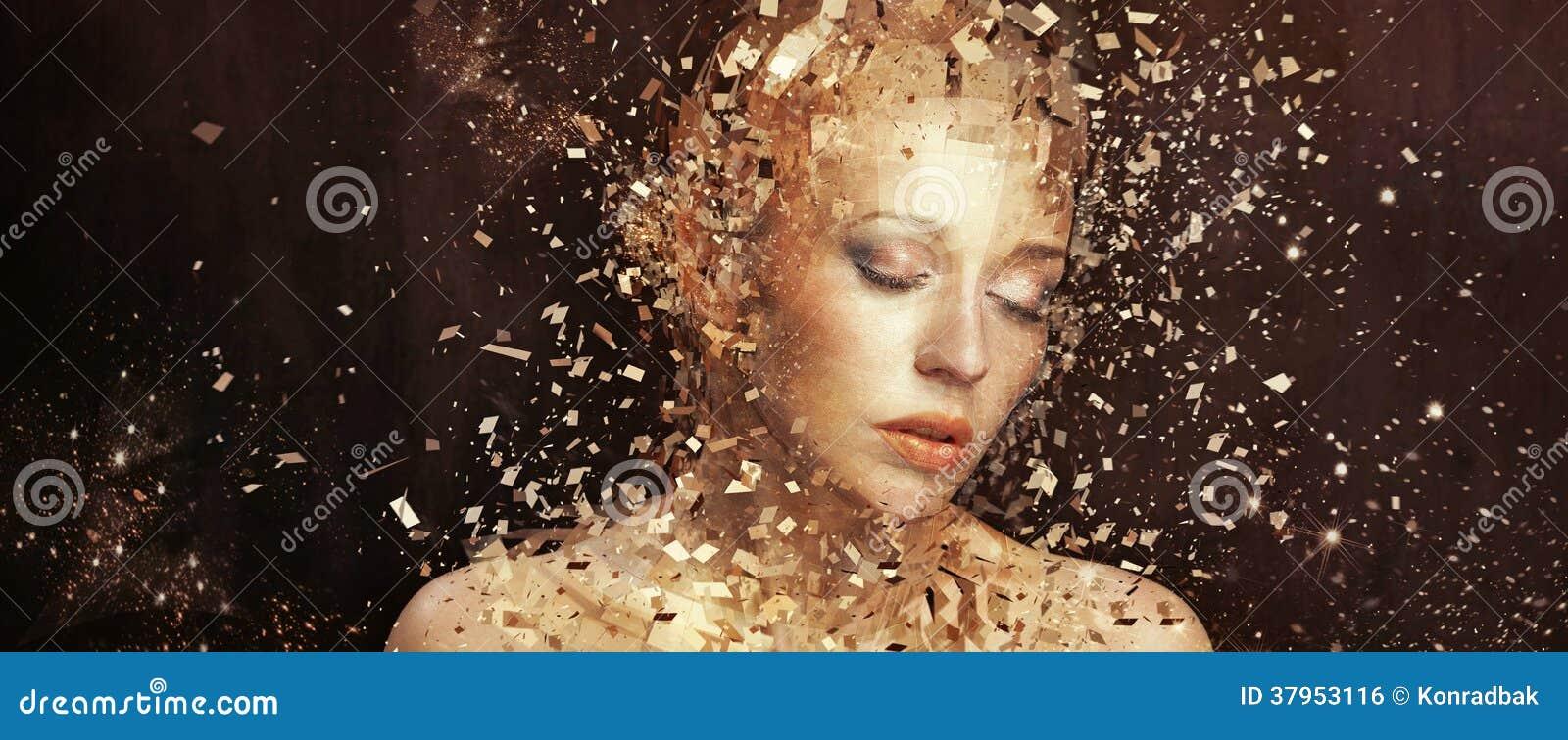 Art photo of golden woman splintering to thousands elements