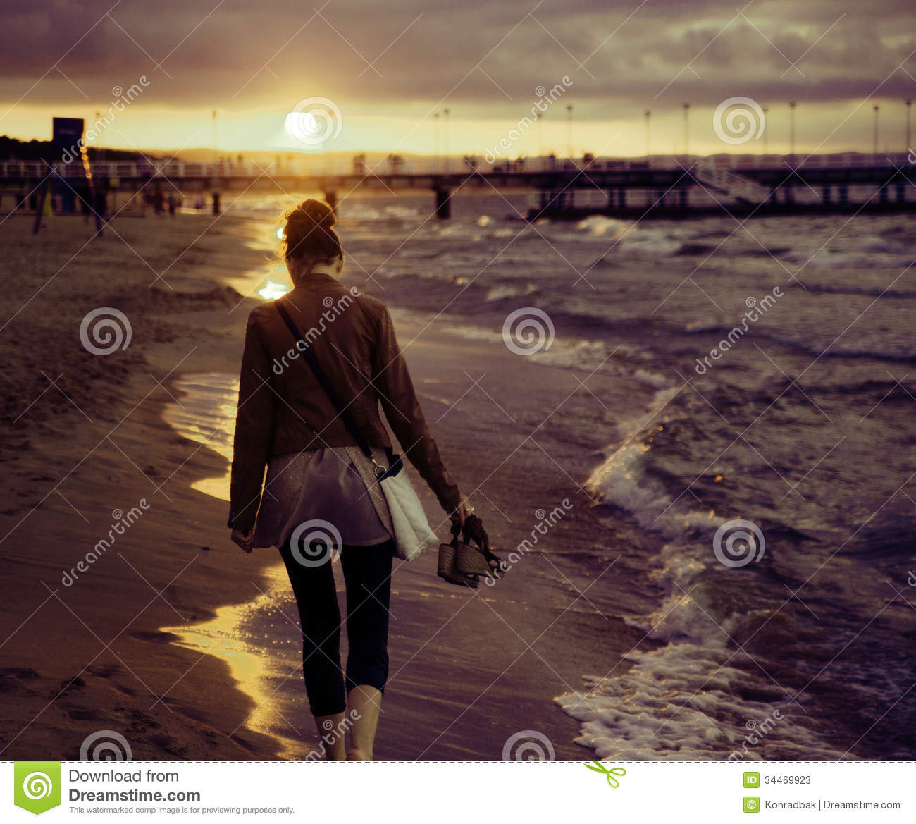 Beautiful Woman Face Over Beach Sunset Stock Image: Art Picture Of Woman With The Sunset In The Background