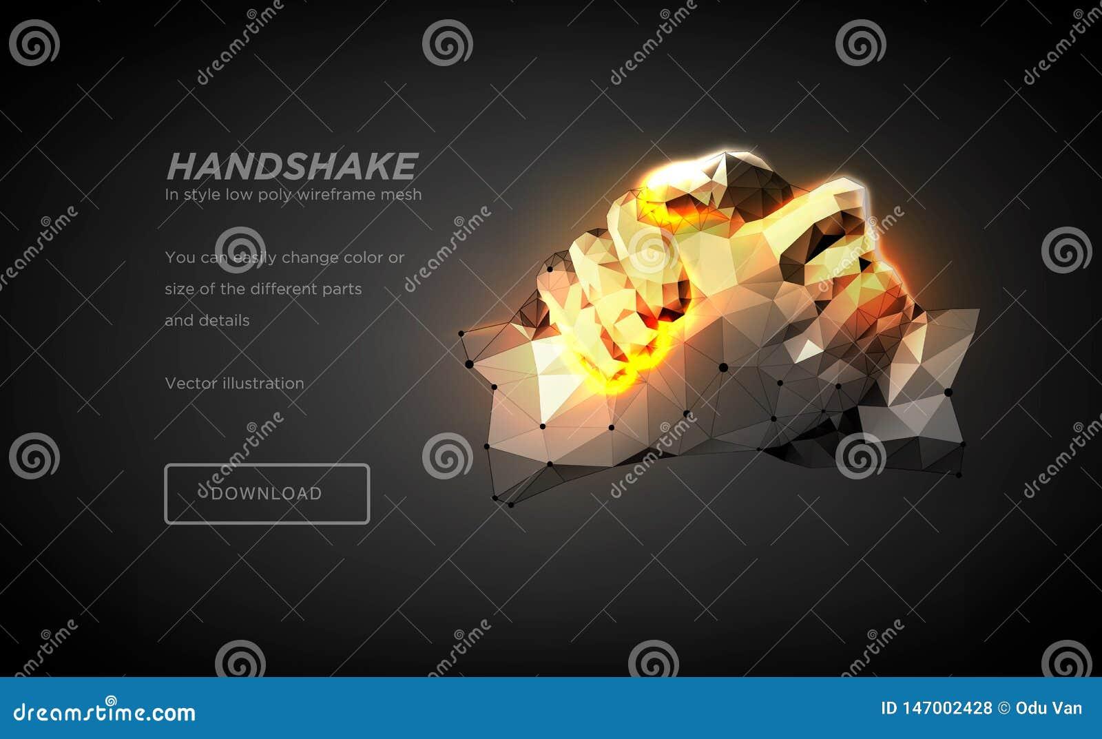 Art polygonal de wireframe de poignée de main sur le backgraund noir Mains d une personne ou d un robot Le concept des mains en a