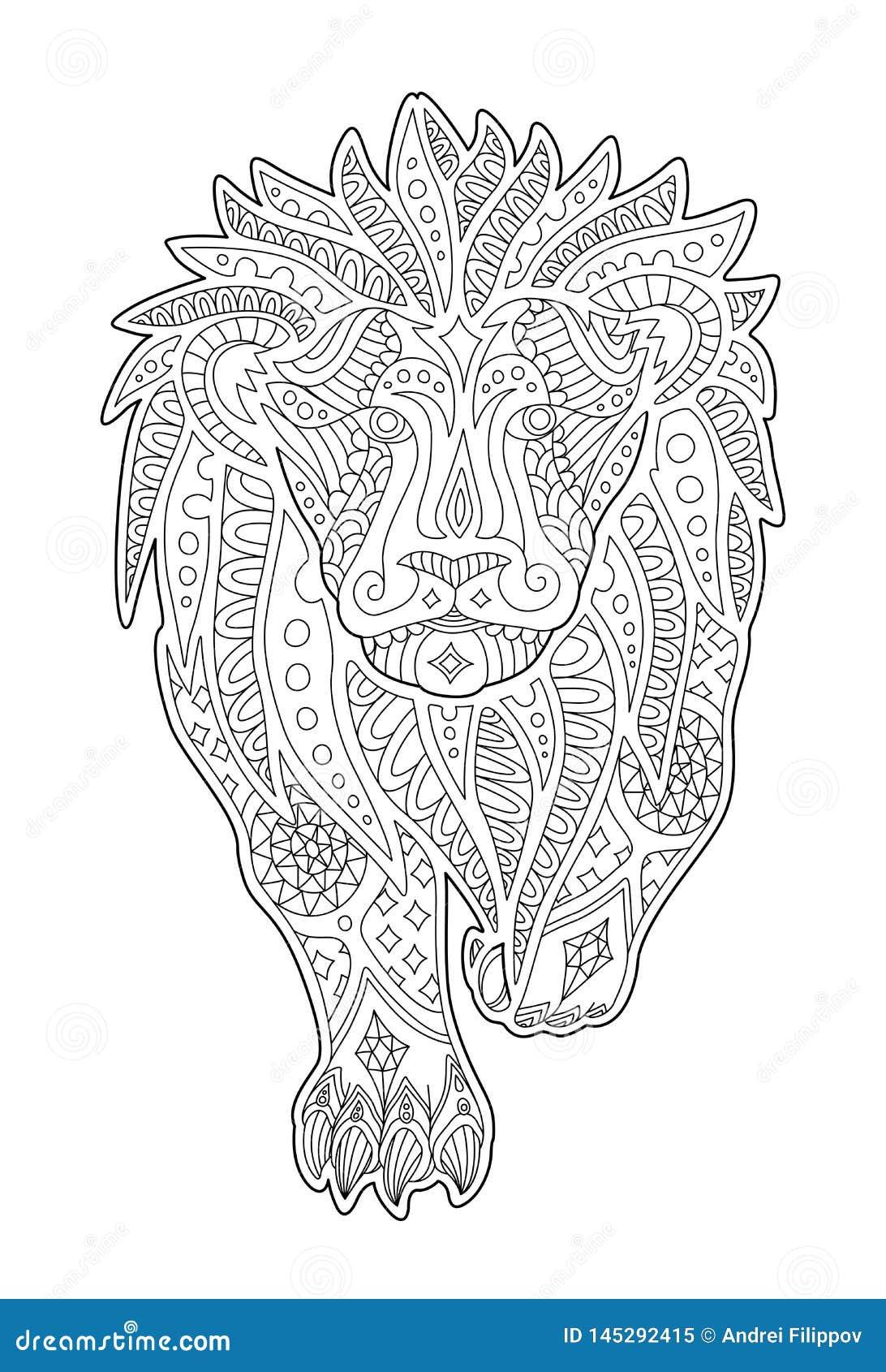 Art Pour La Page De Livre De Coloriage Avec Le Lion D