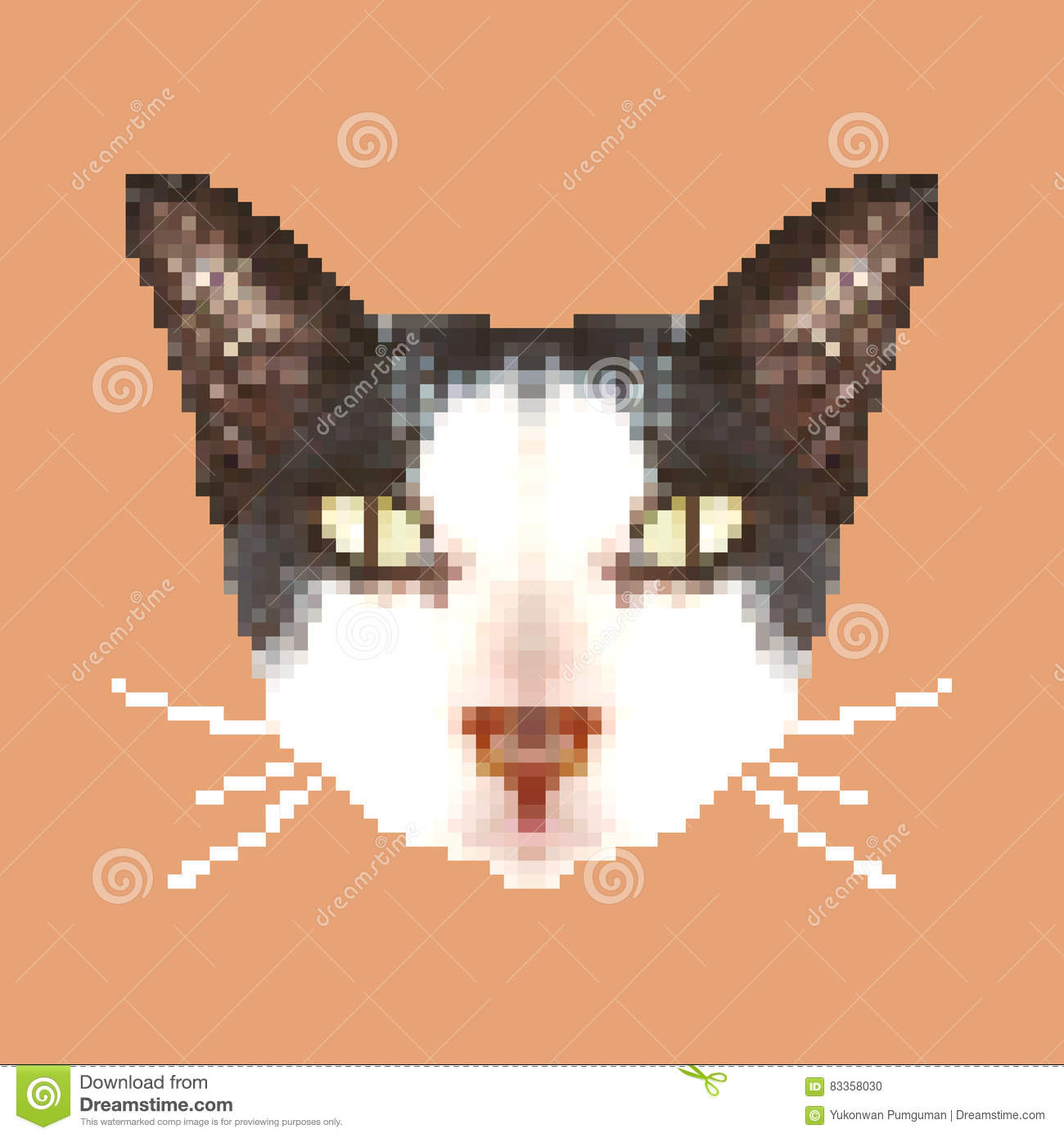 Art Principal De Pixel De Chat Vecteur Animal Carré D