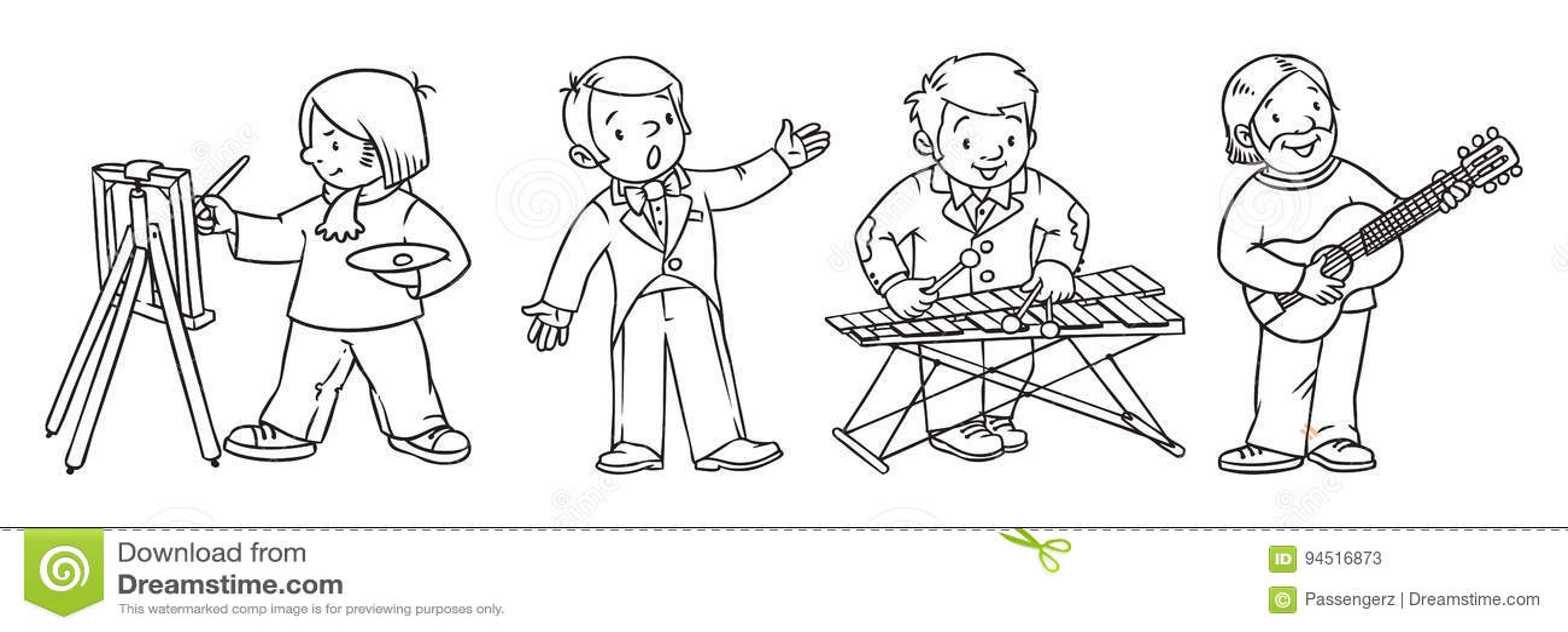 art professions coloring book  stock vector