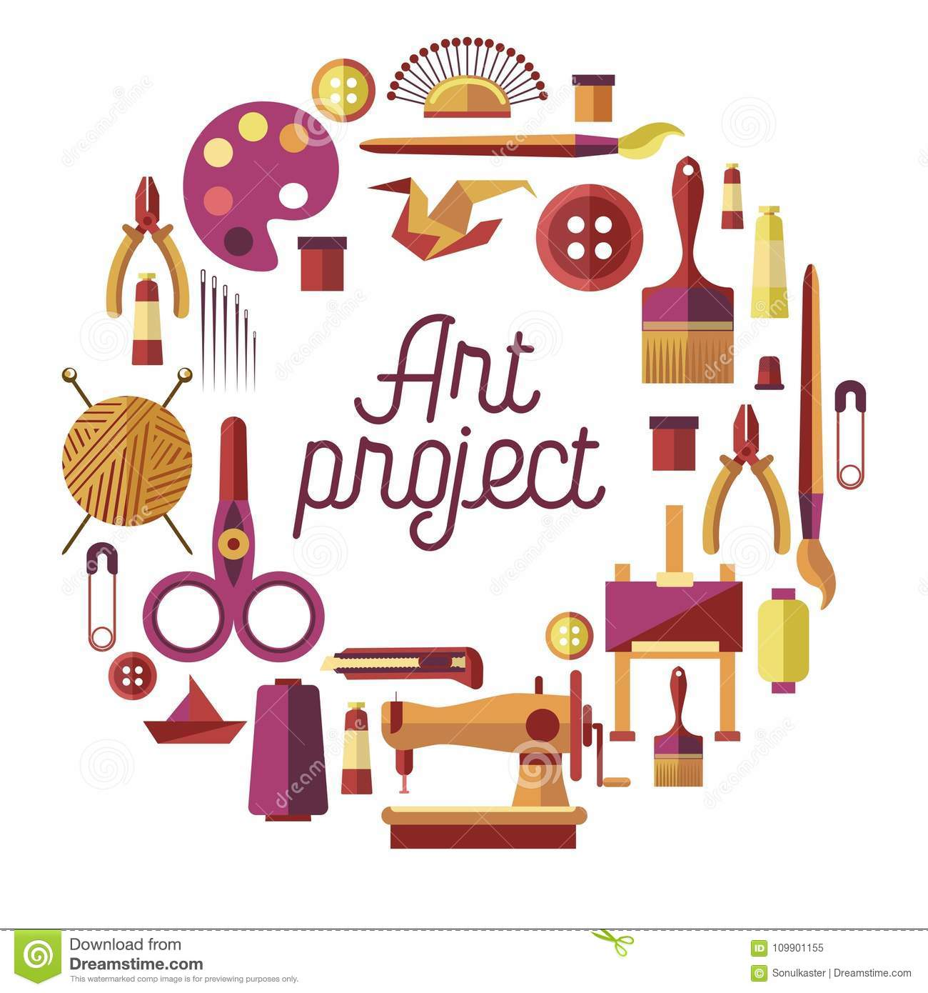 Creative Art Project Vector Poster For Diy Handicraft And Handmade