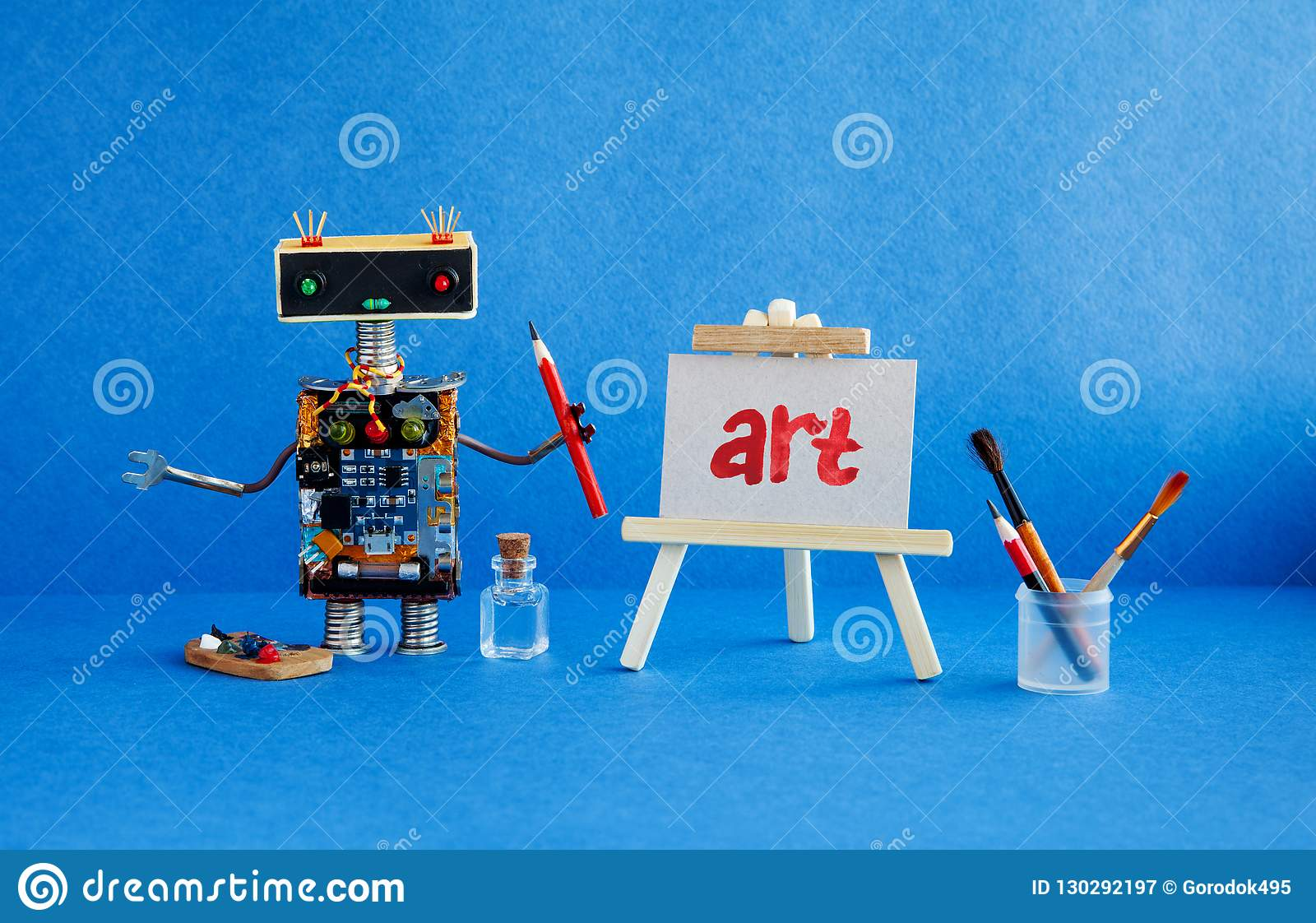 Art and robotic artificial intelligence concept. Robot artist, wooden easel and the handwritten word Art painted red