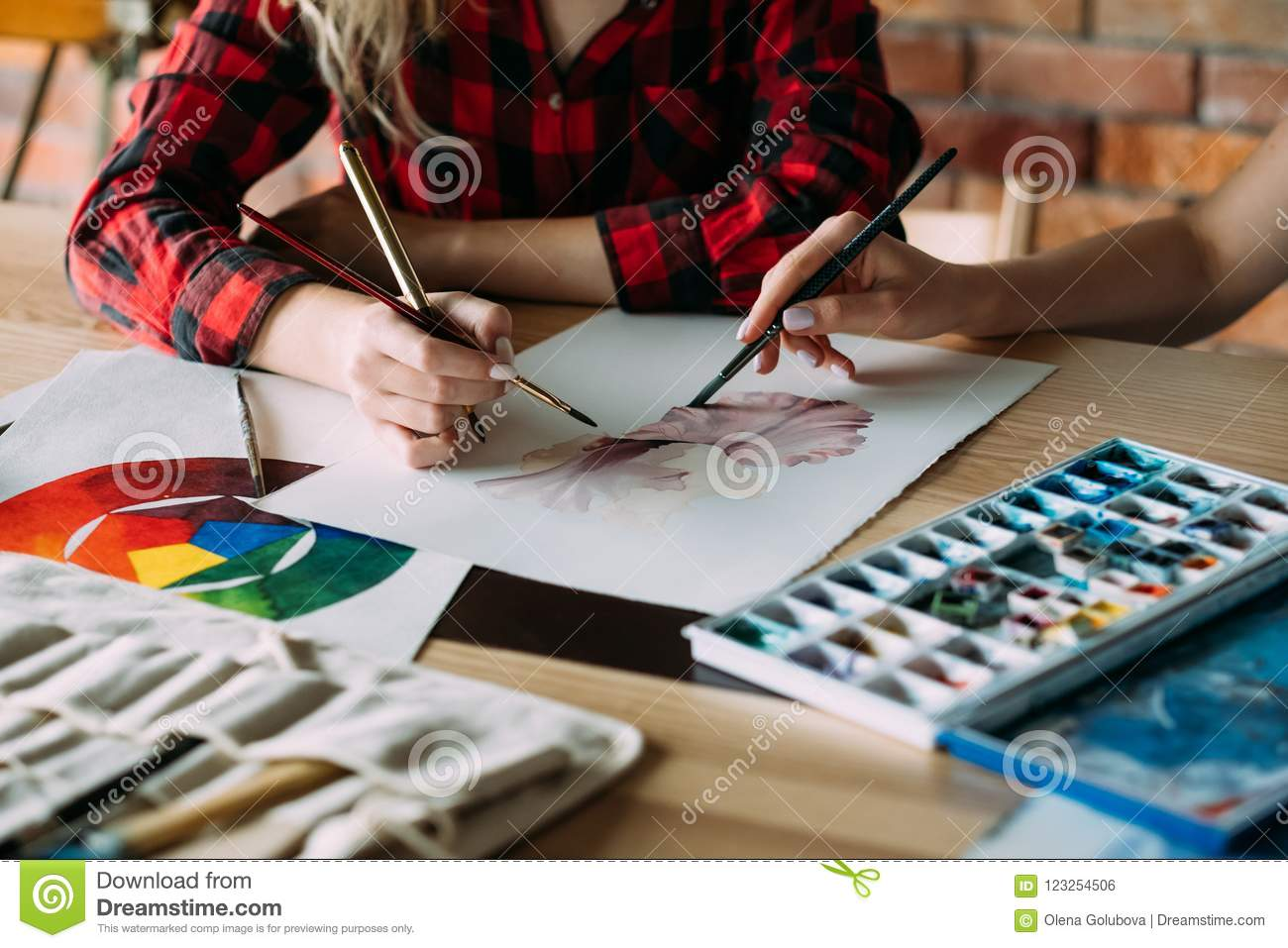 Art School Class Paint Draw Together Skill Improve Stock Photo Image Of Help Drawing 123254506