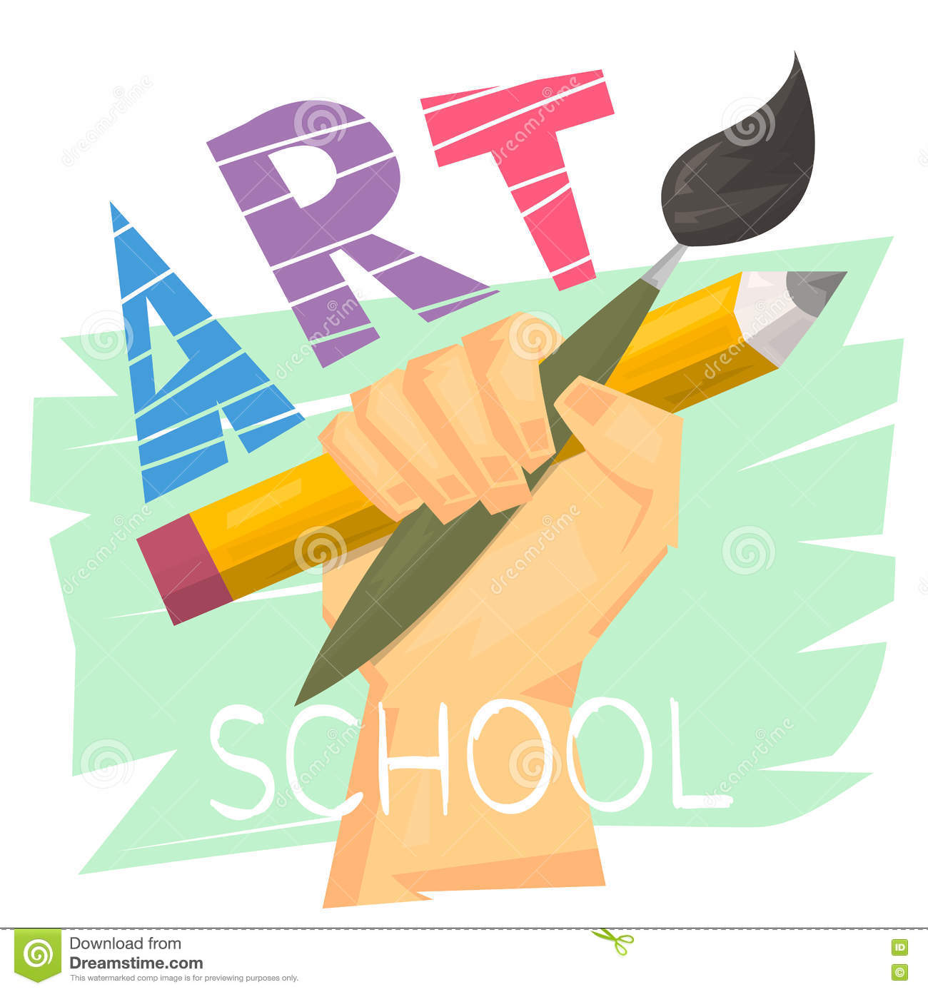 Art School Concept Hand Holding Big Pencil And Brush Ready Logo Or
