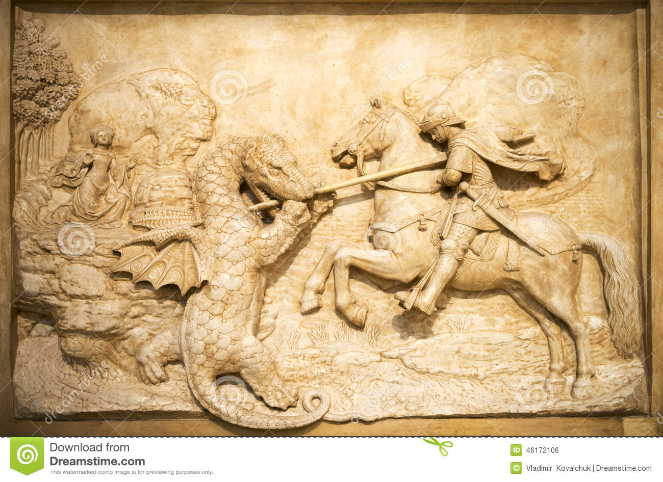 Art Sculpture Knight Battle With The Dragon Stock Photo