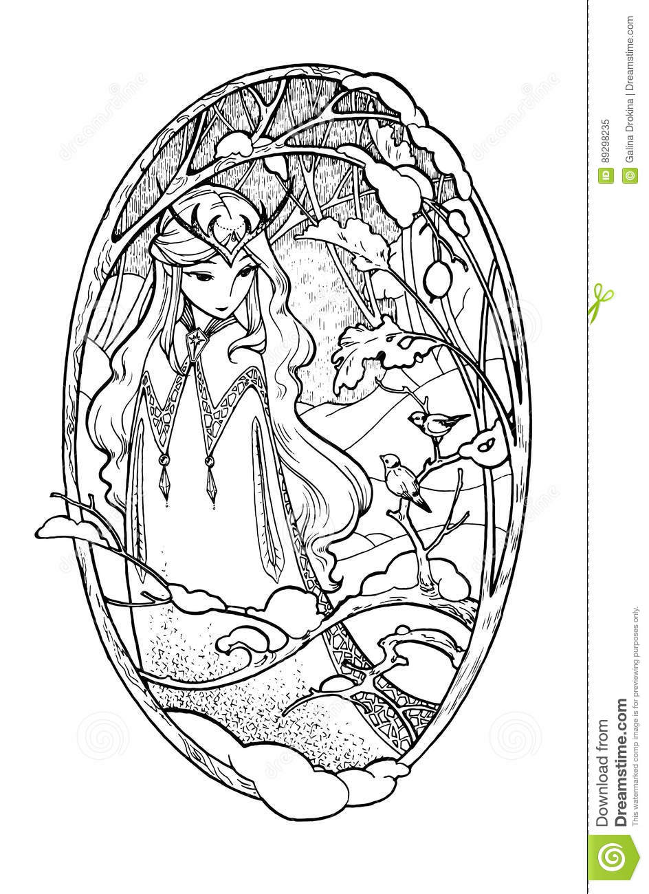 Art Sketch Of Fairy Lady In Winter. Stock Vector - Illustration of ...