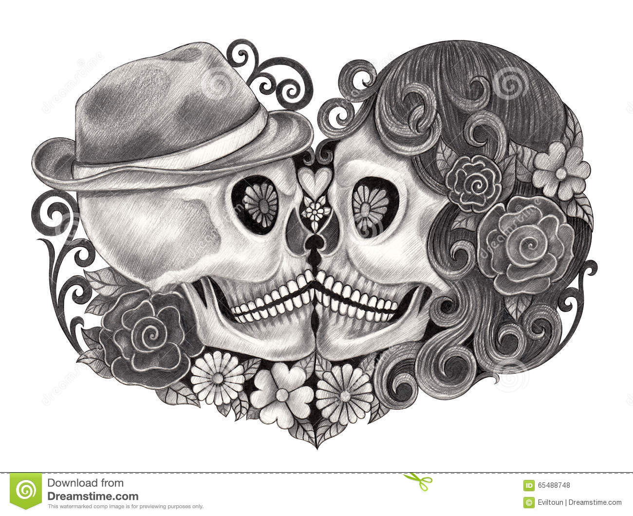 b9a77cacf Art design skull wedding love smiley face day of the dead festival. hand  pencil drawing on paper.
