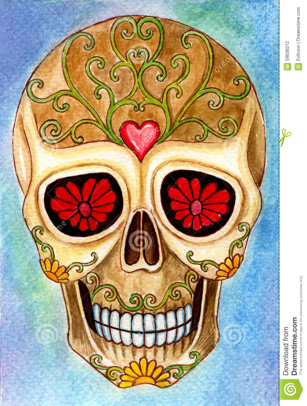 Art skull day of the dead festival stock illustration for Day of the dead body jewelry