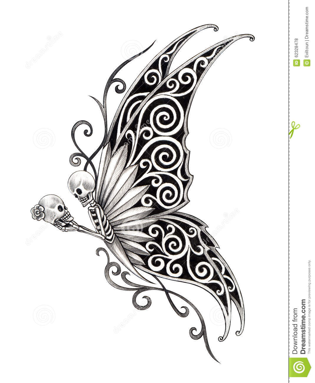 Art skull fairy tattoo stock illustration illustration for Drawing tattoos on paper