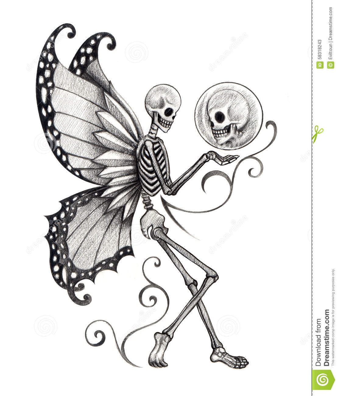 art skull fairy tattoo stock illustration image 58318243. Black Bedroom Furniture Sets. Home Design Ideas