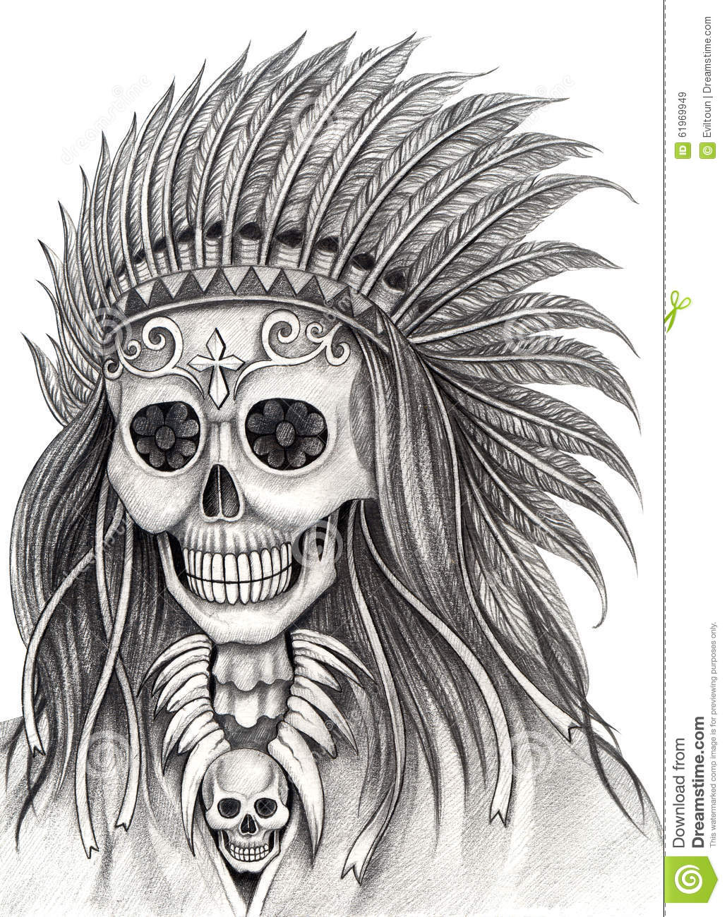 Art design indian skull smiley face day of the dead festival hand pencil drawing on paper