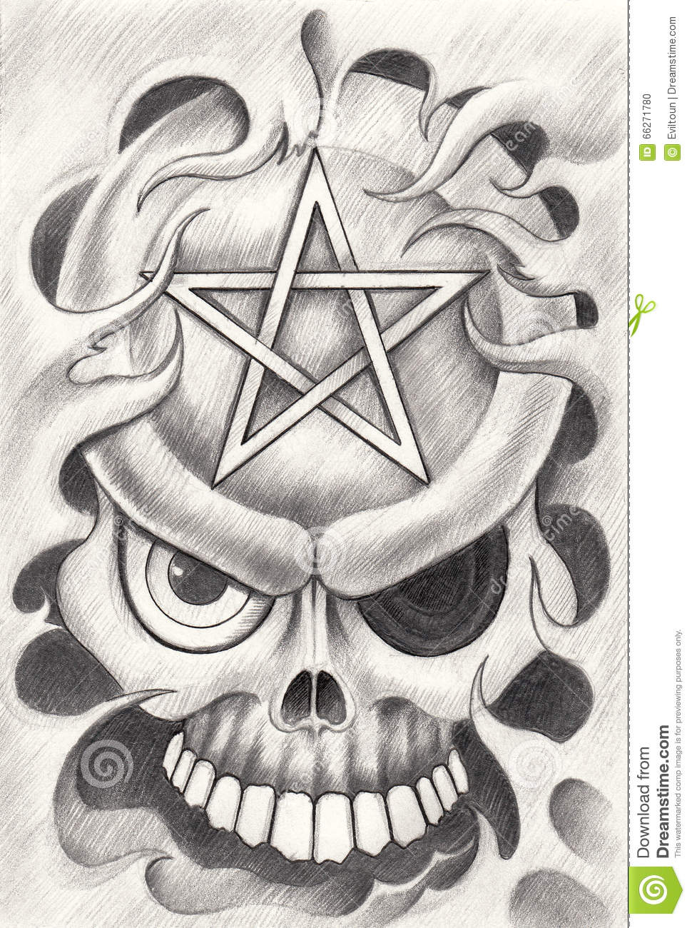 Art Skull Pentagram Tattoo Stock Illustration Illustration Of