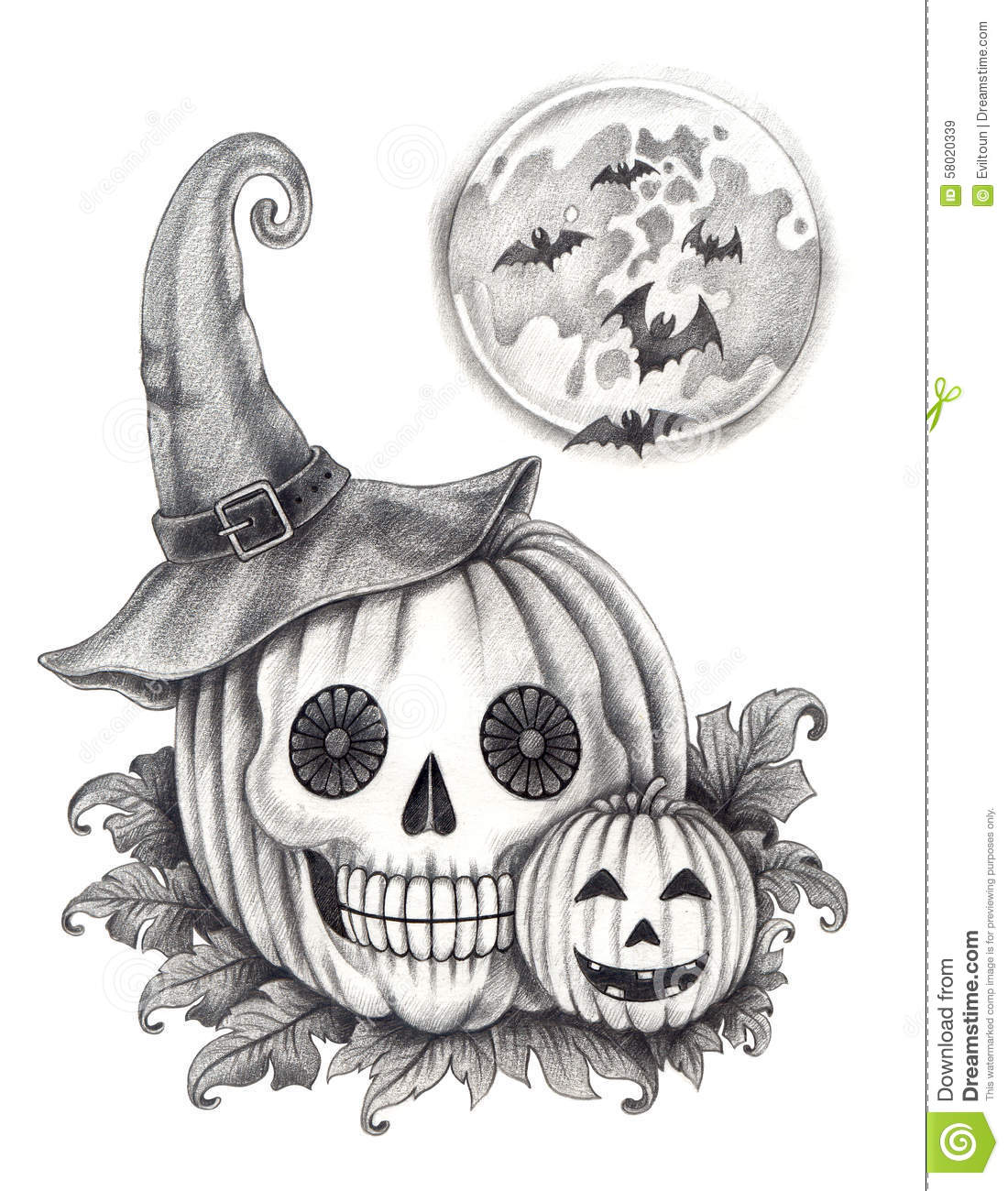 Halloween Pumpkin Drawing Picture.Art Skull Pumpkin Halloween Day Stock Illustration Illustration