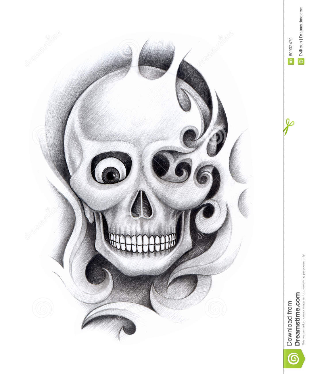 art skull tattoo stock illustration image 60902479. Black Bedroom Furniture Sets. Home Design Ideas