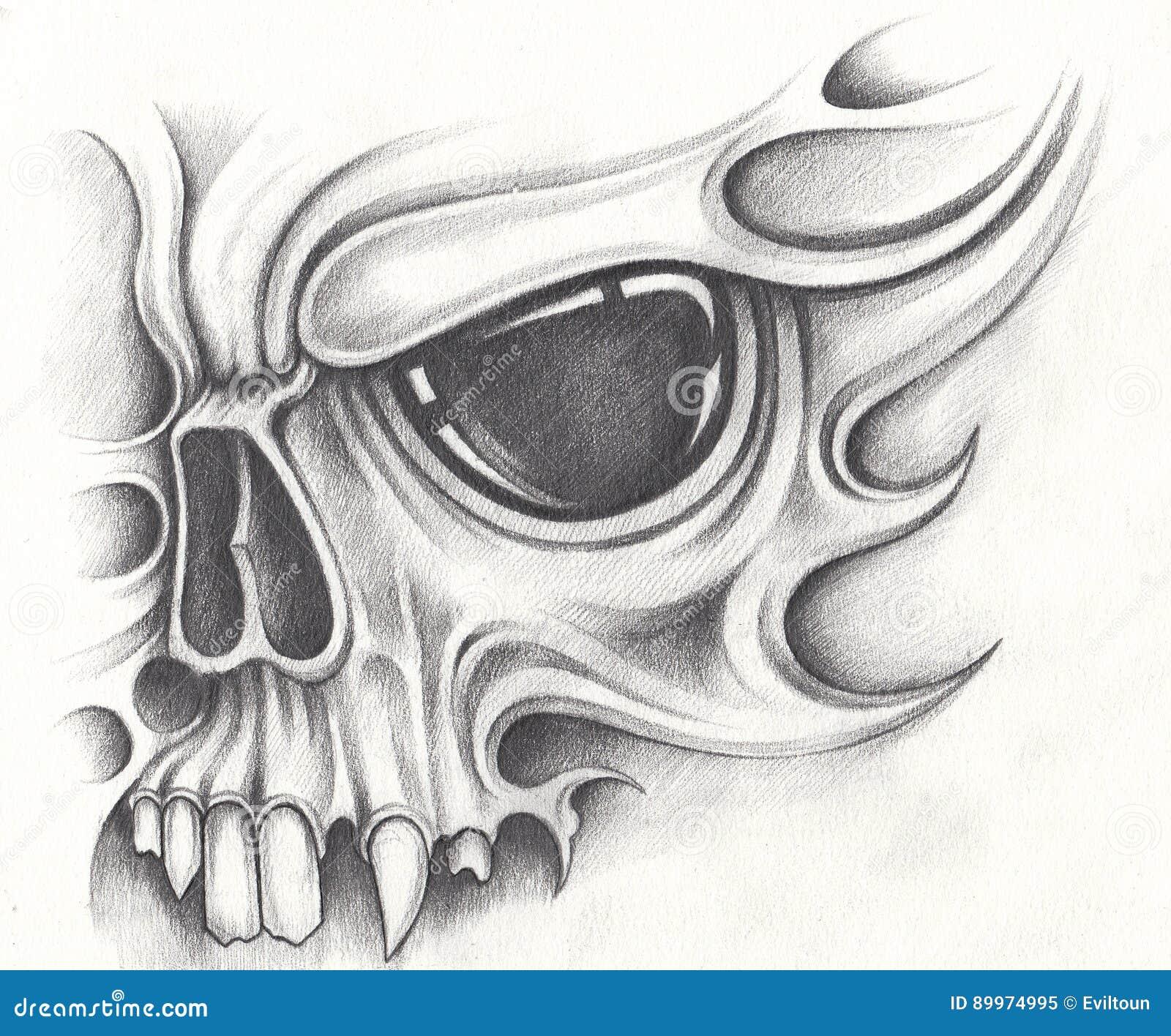 Art skull tattoo. stock illustration. Illustration of halloween ...