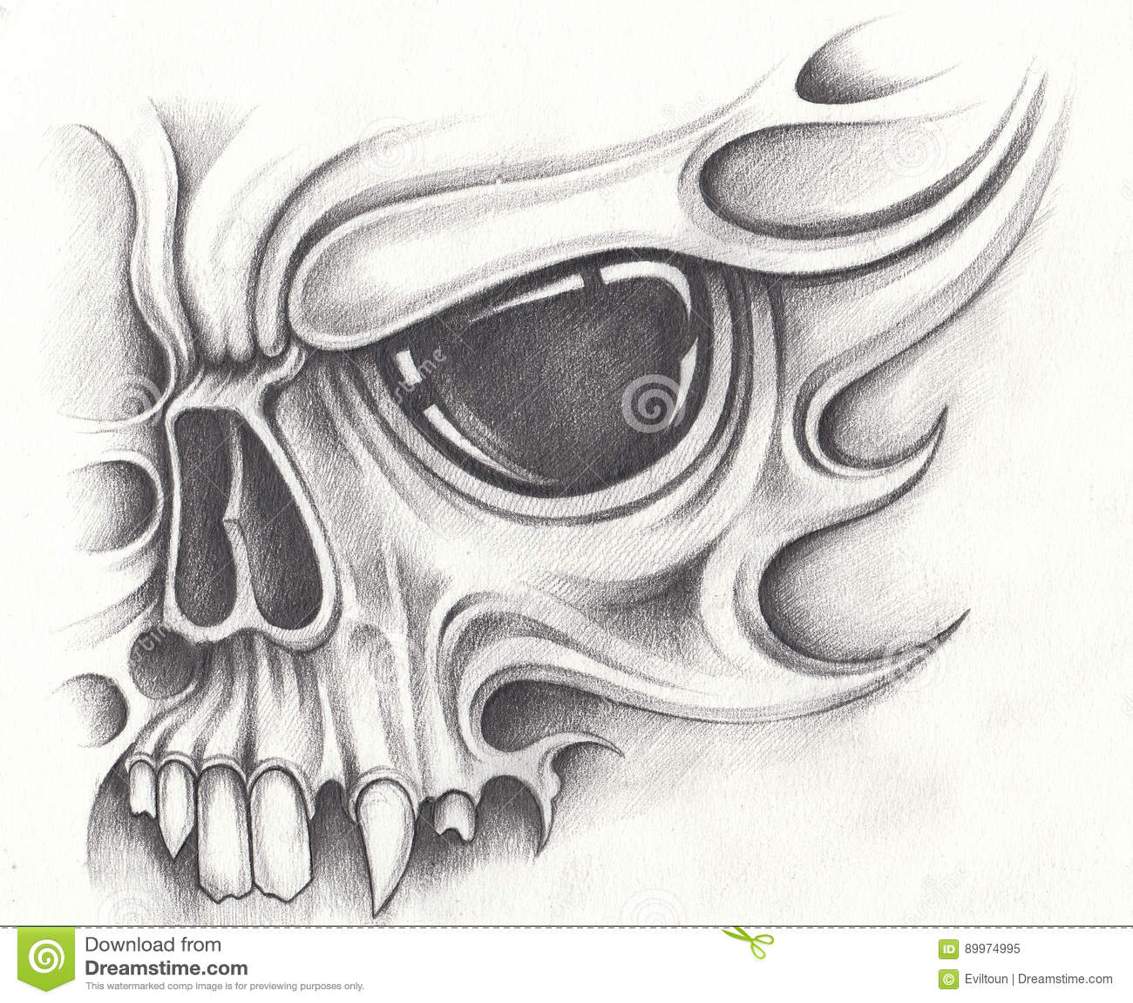 Art design skull tattoo pencil drawing on paper