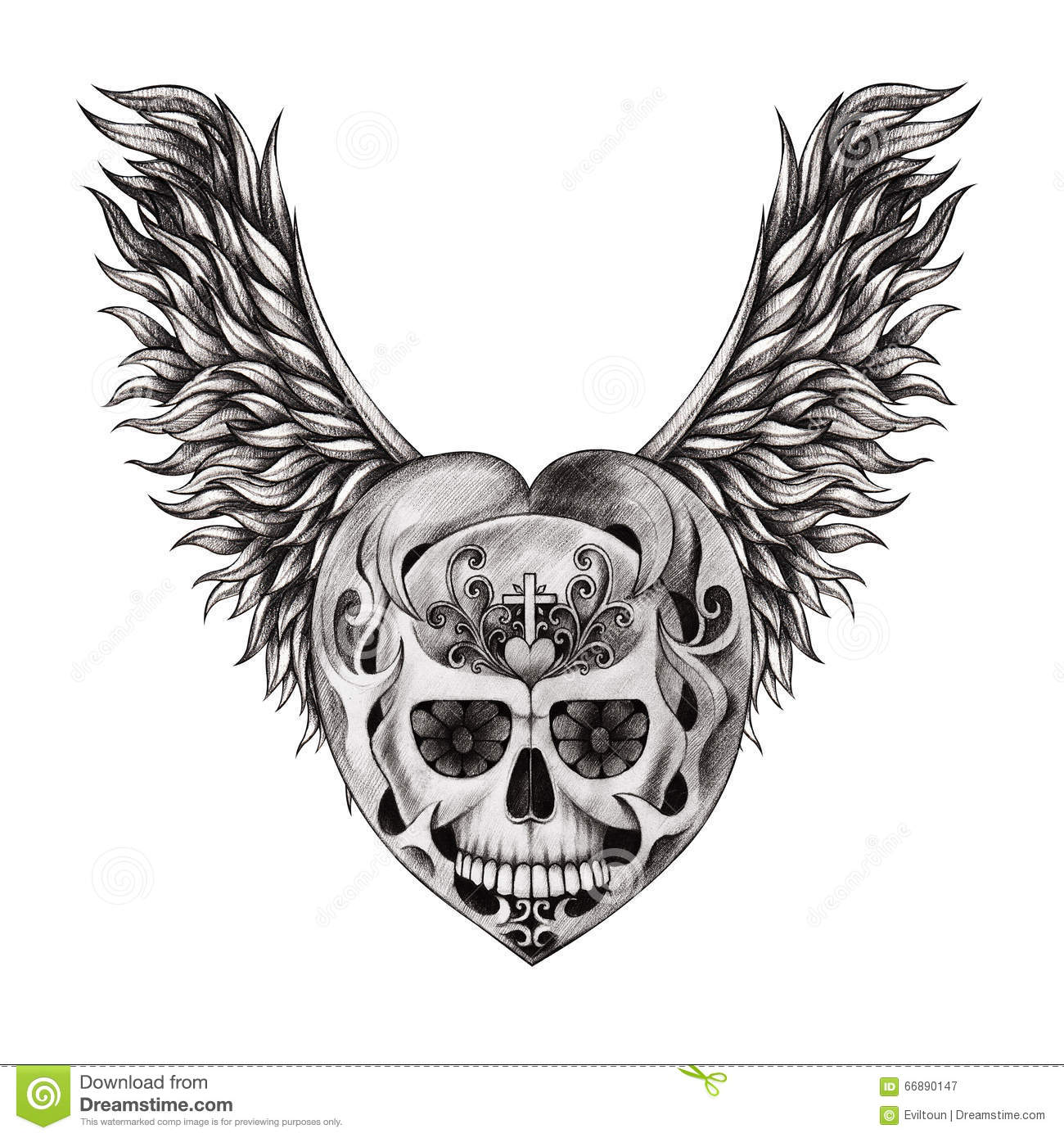 Art Skull Wings Angel Tattoo Stock Illustration