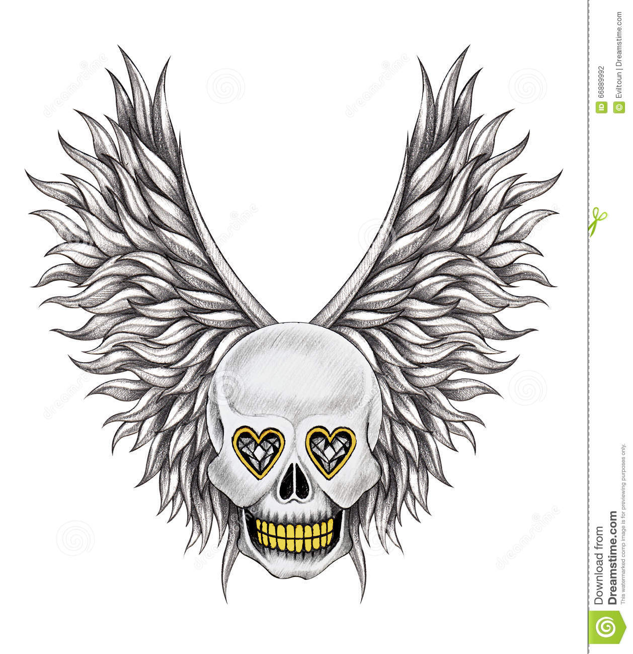 Art Skull Wings Angel Tattoo Stock Illustration Illustration Of