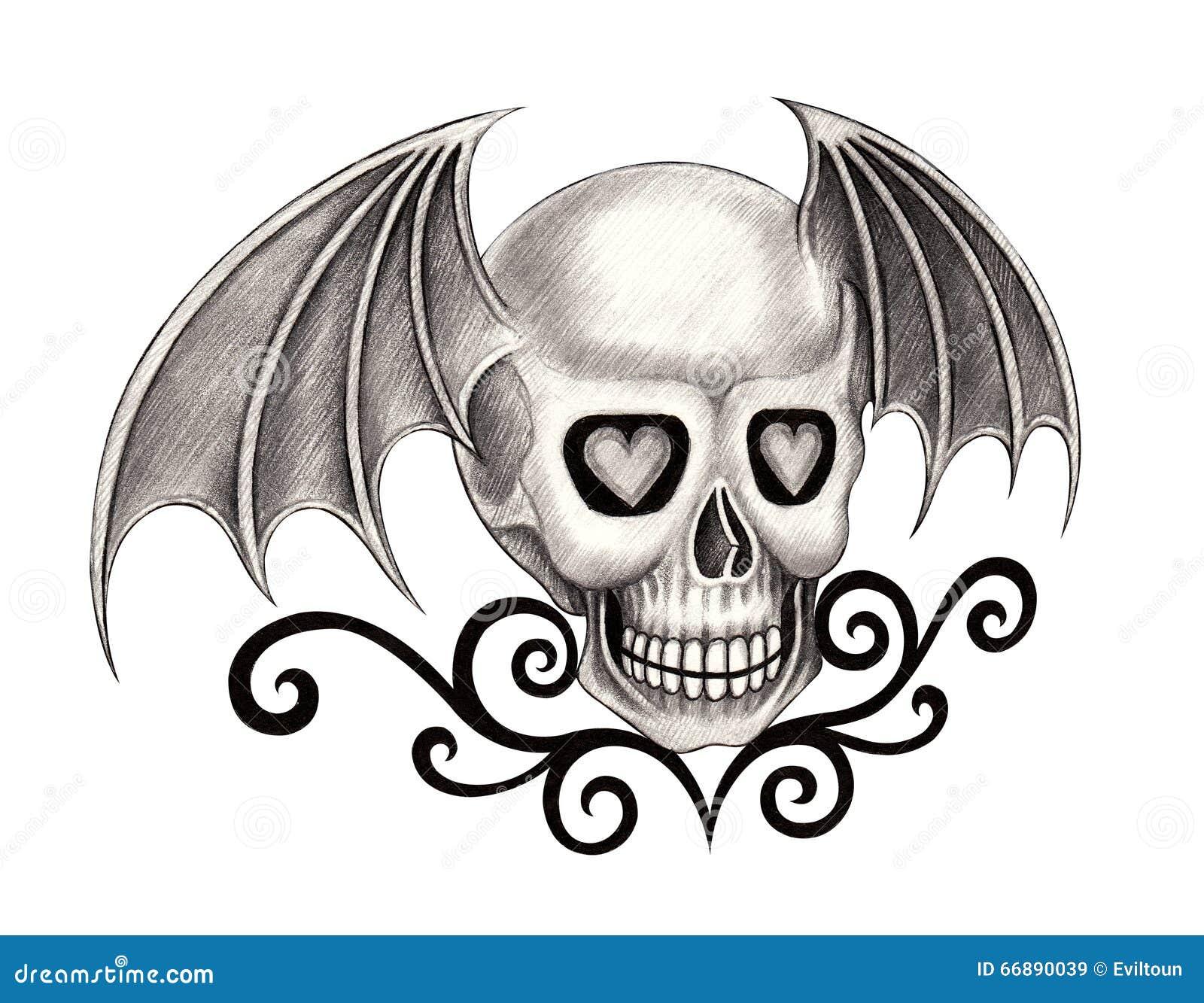 art skull wings devil tattoo stock illustration image 66890039. Black Bedroom Furniture Sets. Home Design Ideas