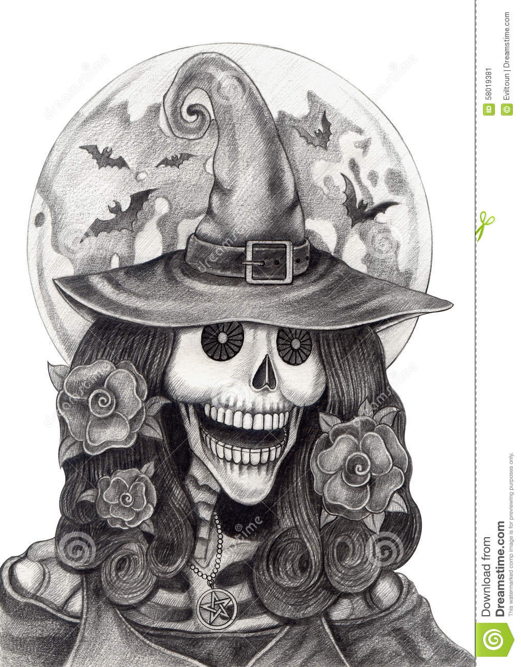 Line Drawing Of Witches Face : Art skull witch halloween day stock illustration image