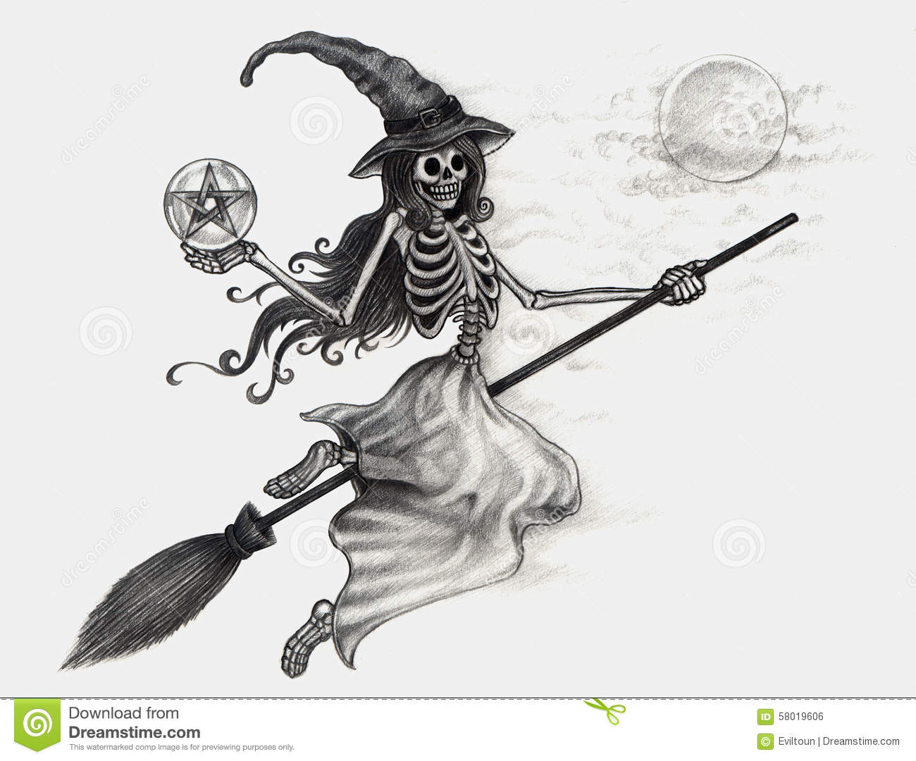 Line Drawing Of Witches Face : Art skull witch halloween day stock illustration