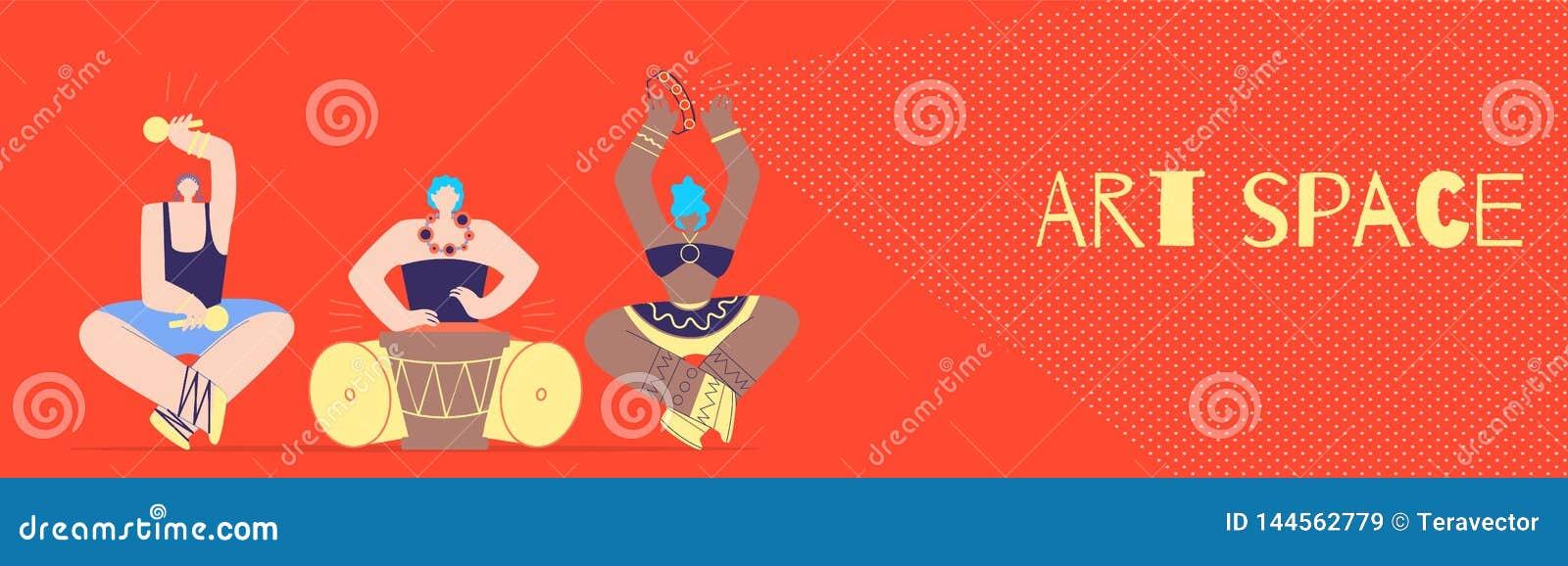 Art Space mit Stammes- Musiker Flat Style Banner