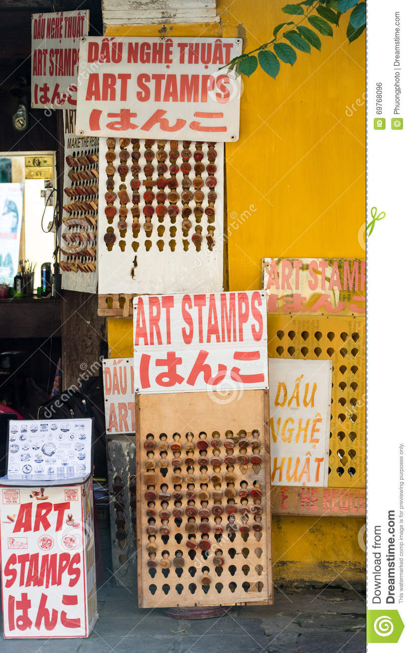 Art Stamps For Sale In Hoi An, Vietnam Editorial Photo