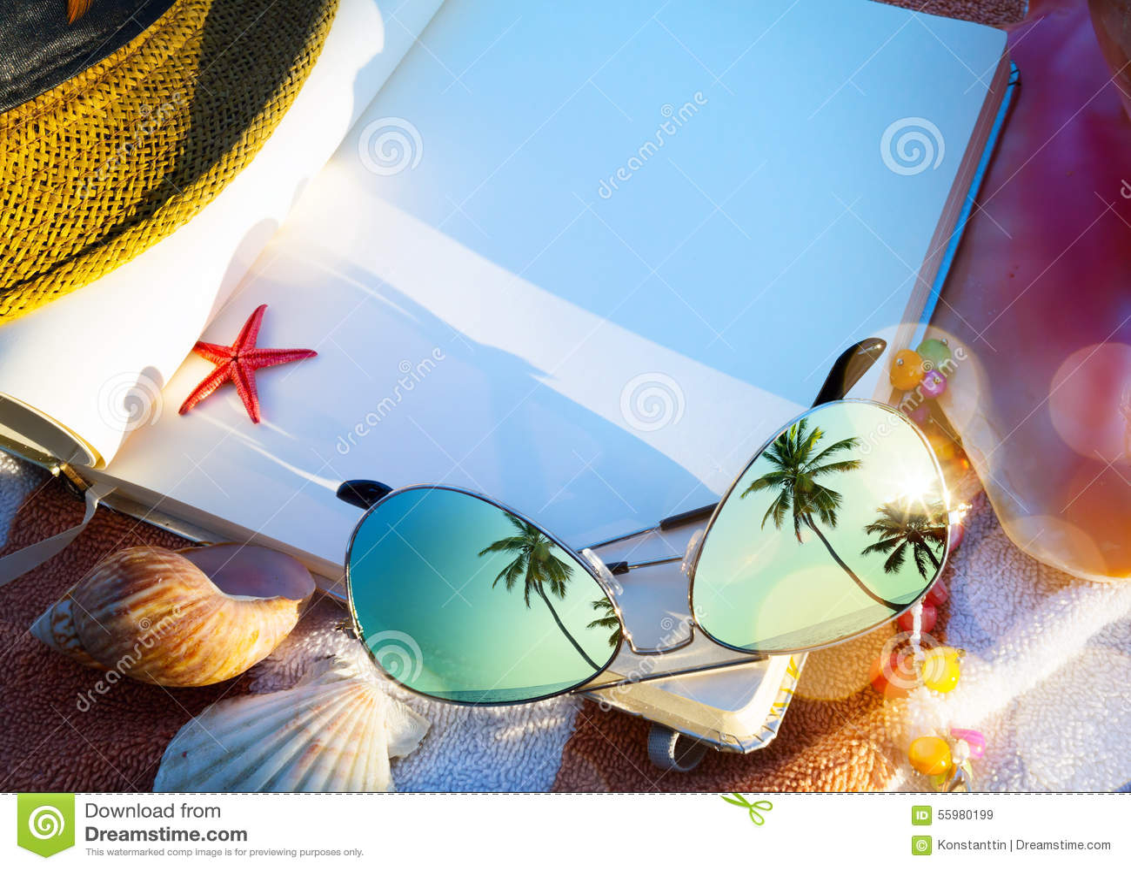 Art Summer-concept de vakantie van het de zomerstrand