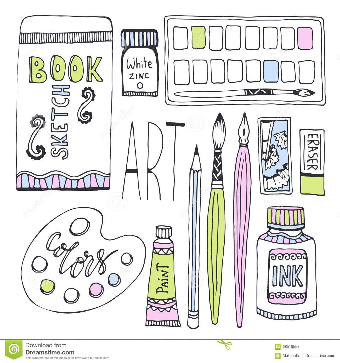 Art Supplies For Drawing  Sketches Vector Set With Paints, Palette