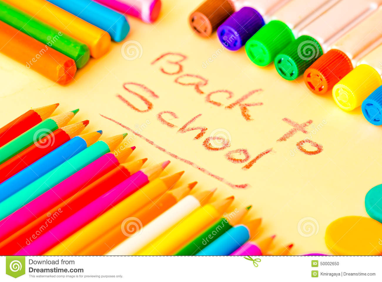 Art Supplies Framing The Words BACK TO SCHOOL Stock Photo - Image ...