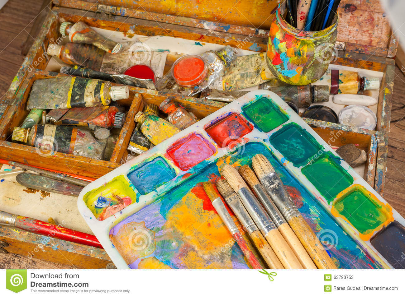 art supplies and painting art brushes stock image image. Black Bedroom Furniture Sets. Home Design Ideas