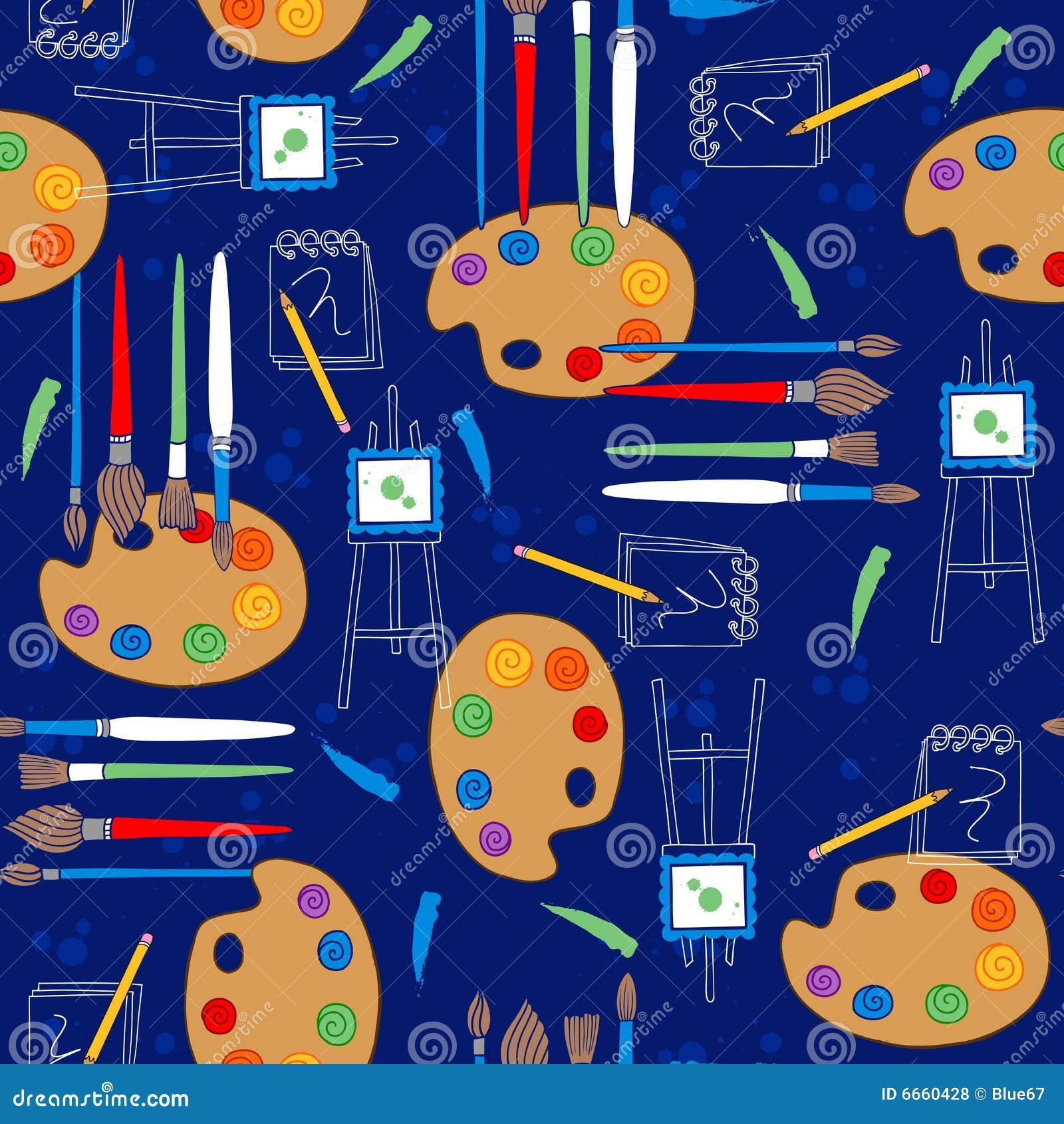 Art Supplies Seamless Repeat Pattern Stock Vector - Illustration of