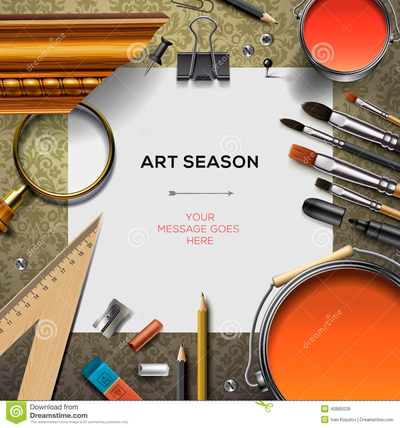 New school season template with office supplies stock illustration art supplies template with artist tools royalty free stock images toneelgroepblik Images
