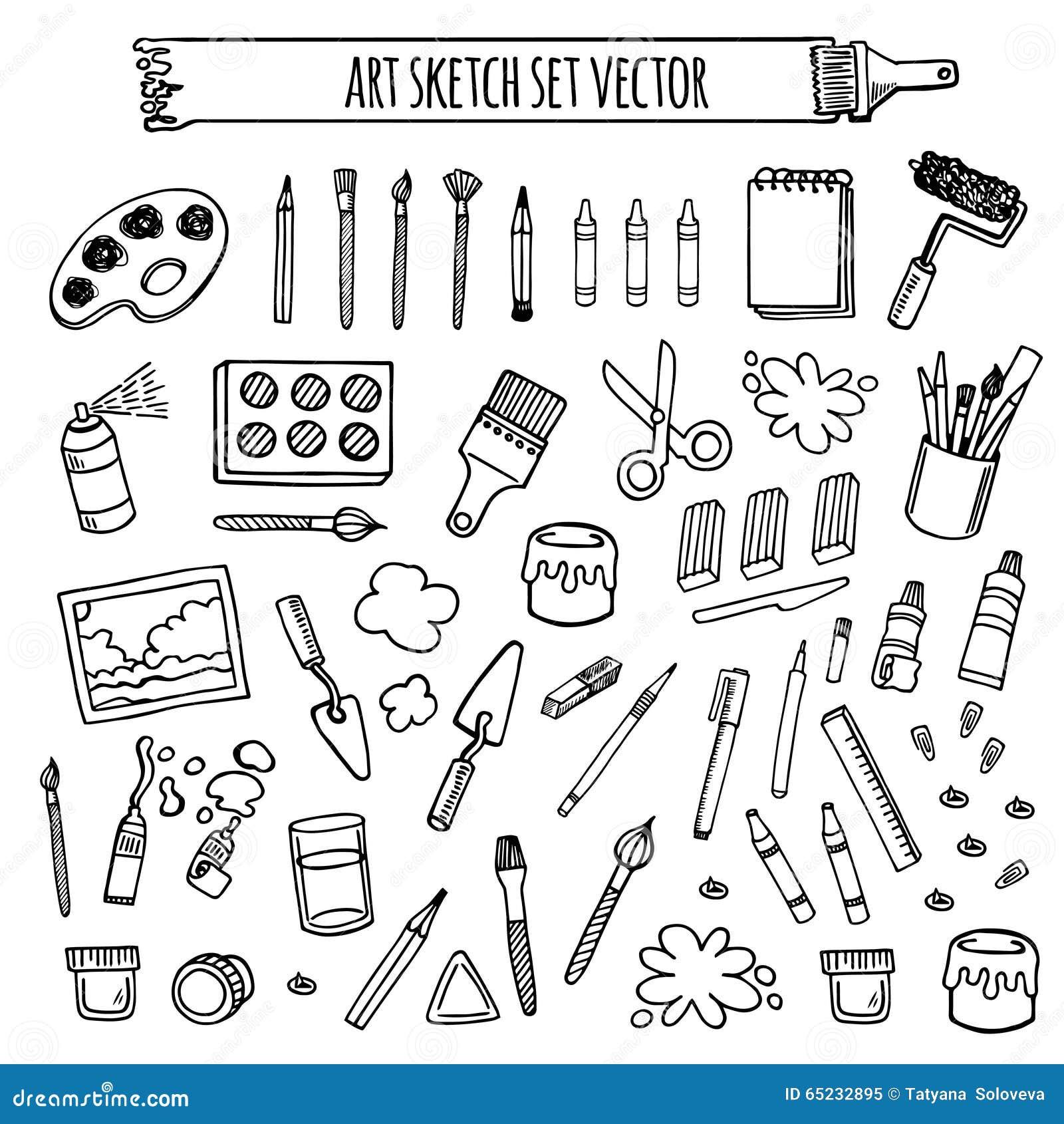 Art Tools Sketch Hand Drawn Set Vector Stock Vector