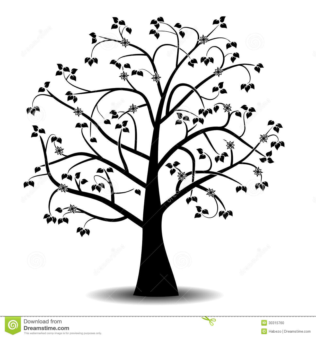 Bird And Tree Wall Stickers Art Tree Black Silhouette Stock Illustration Illustration