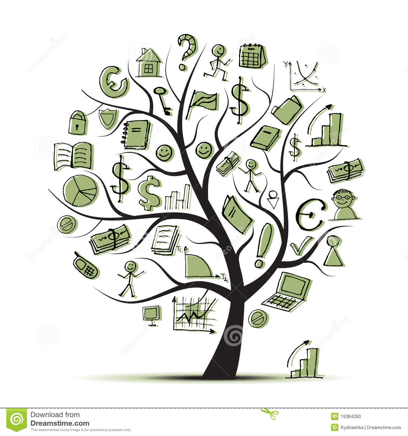 Finance Tree: Art Tree Concept With Business Icons Stock Photo