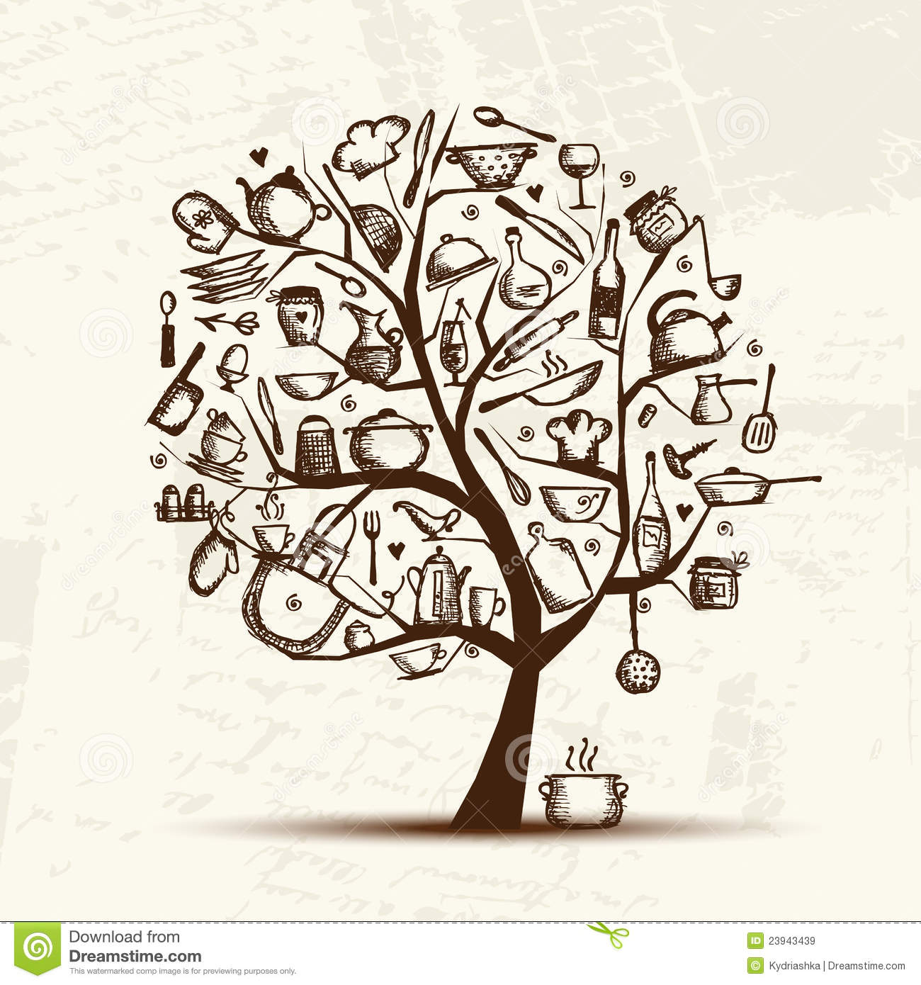 Art Tree With Kitchen Utensils, Sketch Drawing Stock