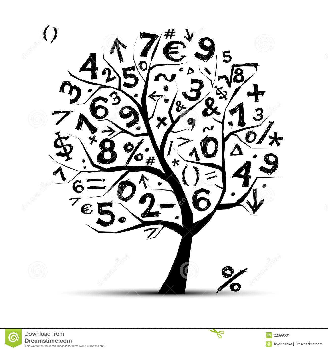 Art tree with math symbols for your design stock vector art tree with math symbols for your design biocorpaavc Gallery