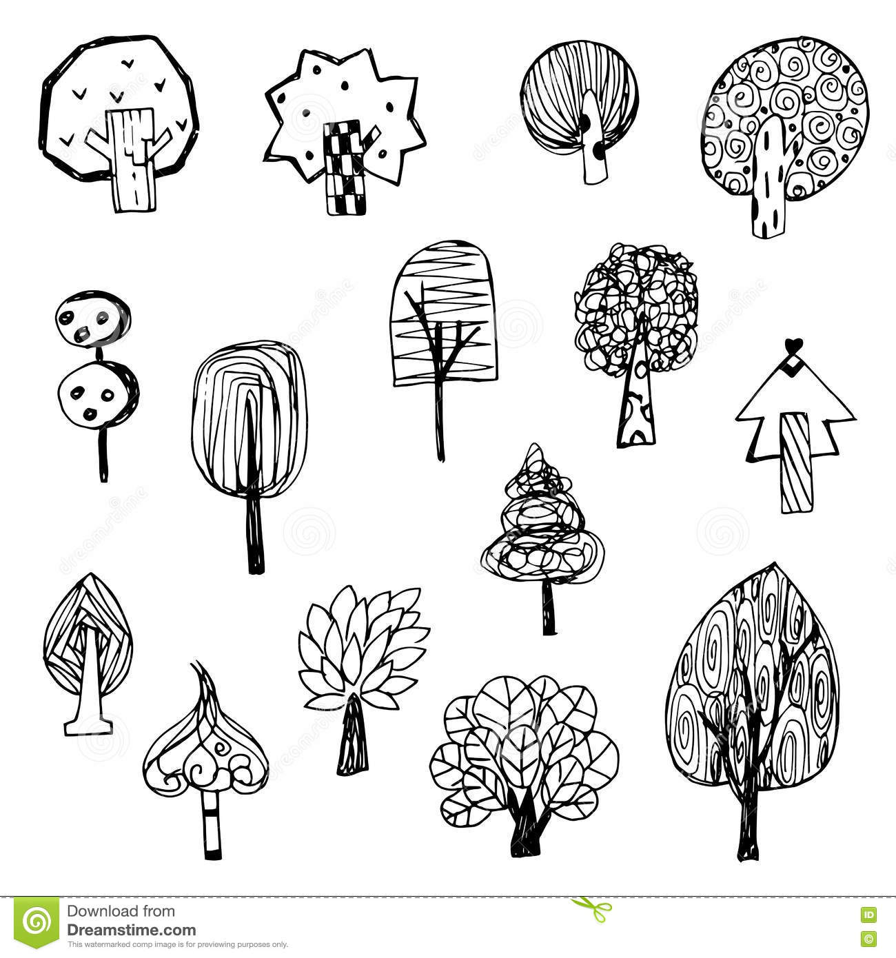Art of tree vector from free hand drawing design on white for Cute tree drawing